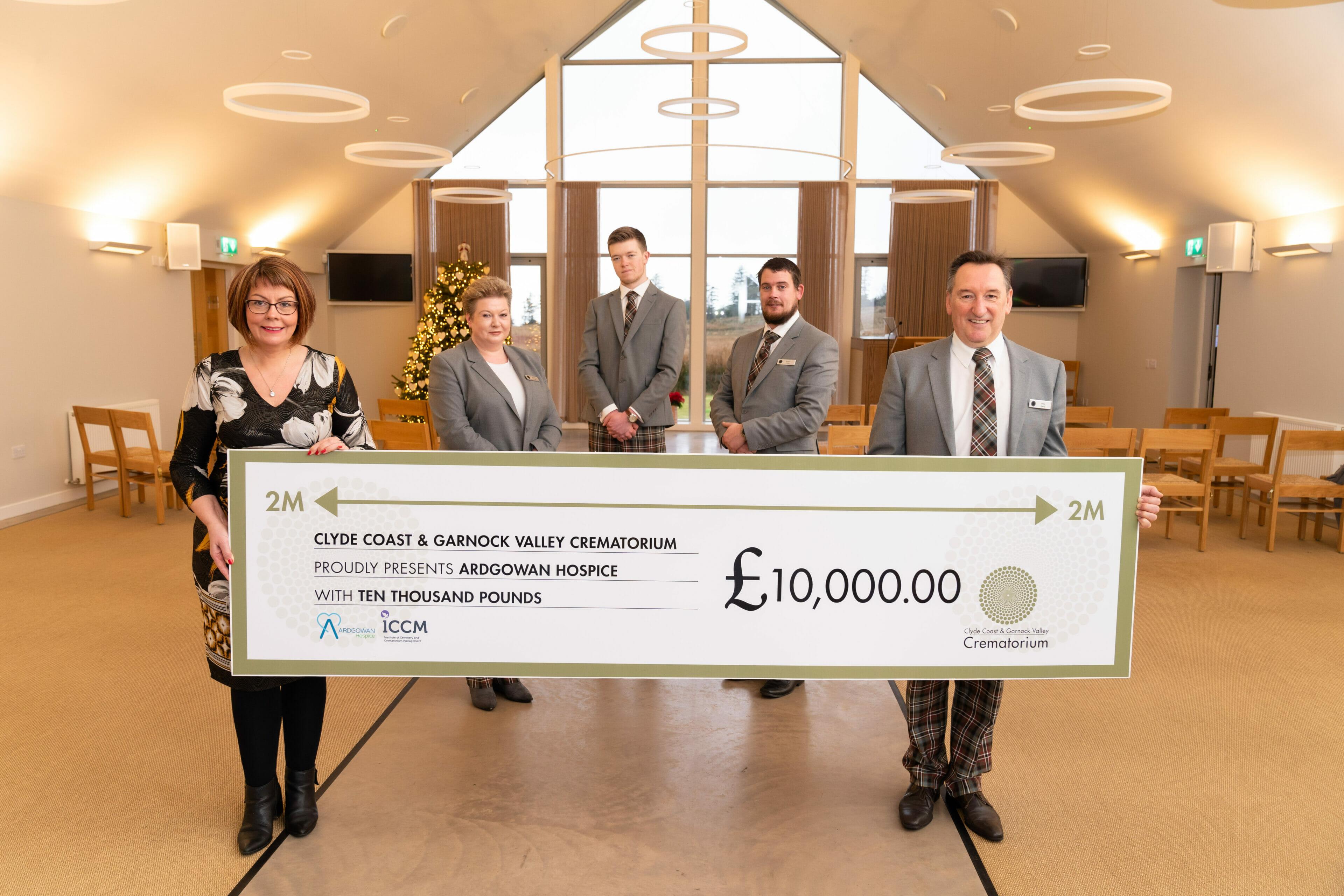 £10,000.00 ARDGOWAN HOSPICE DONATION